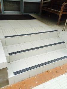 Aluminium stair nosing with Carborundum inserts
